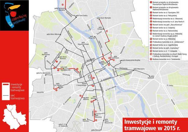 Mapa inwestycji Tramwajów Warszawskich na 2015 rok UM Warszawa
