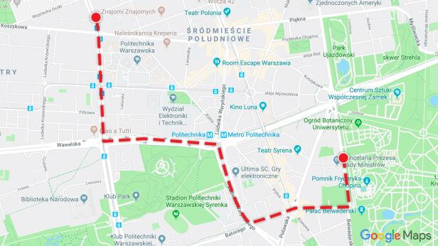 Trasa poniedziałkowego przemarszu Google Maps